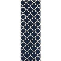 "Safavieh Handmade Moroccan Dark Blue Wool Runner Rug - 2'3"" x 7'"