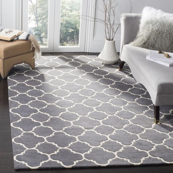 Safavieh Chatham Contemporary Handmade Moroccan Dark Grey Wool Rug (6' x 9')