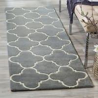 Safavieh Handmade Moroccan Dark Grey Geometric Wool Rug - 2'3 x 11'