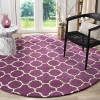 Safavieh Handmade Geometric Moroccan Purple Wool Rug - 7' Round