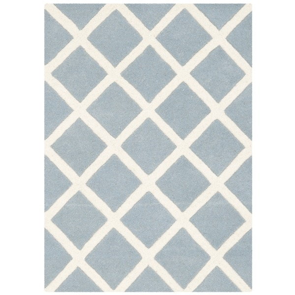 Safavieh Handmade Moroccan Blue Diamond Pattern Wool Rug - 2' x 3'