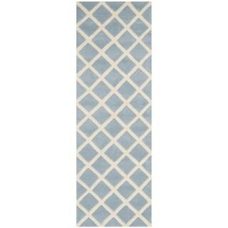 Safavieh Handmade Moroccan Blue Runner Wool Rug (2'3 x 7')
