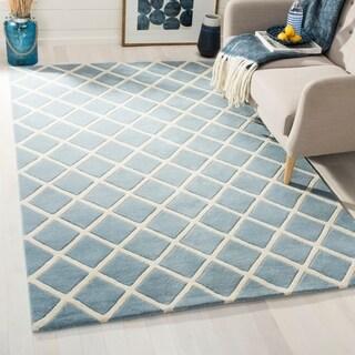 Safavieh Handmade Moroccan Blue Small Diamond Pattern Wool Rug (6' x 9')