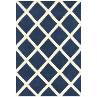 Safavieh Durable Handmade Moroccan Dark Blue Wool Rug (2' x 3')