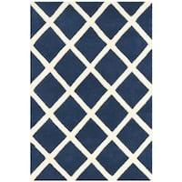 Safavieh Durable Handmade Moroccan Dark Blue Wool Rug - 2' X 3'