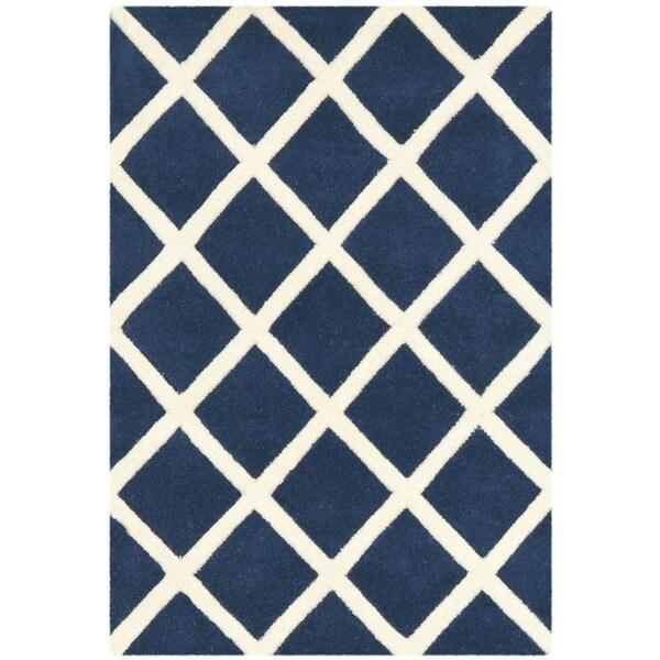 Safavieh Durable Handmade Moroccan Dark Blue Wool Rug (2' x 3')