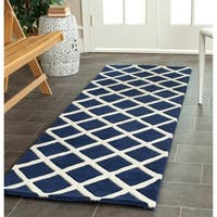 "Contemporary Safavieh Handmade Moroccan Chatham Dark Blue Wool Rug - 2'3"" x 7'"