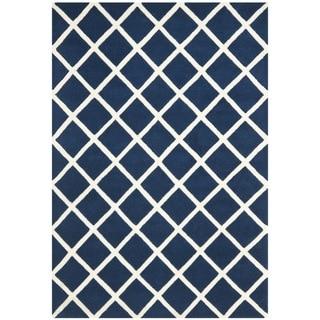 Safavieh Handmade Moroccan Chatham Square-pattern Dark Blue Wool Rug (4' x 6')