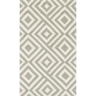 Hand-hooked Indoor/ Outdoor Capri Grey/ Ivory Area Rug (2'3 x 3'9)