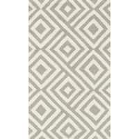 Hand-hooked Indoor/ Outdoor Capri Grey/ Ivory Area Rug - 2'3 x 3'9