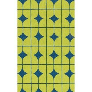 Hand-hooked Indoor/ Outdoor Capri Lime Rug (2'3 x 3'9)