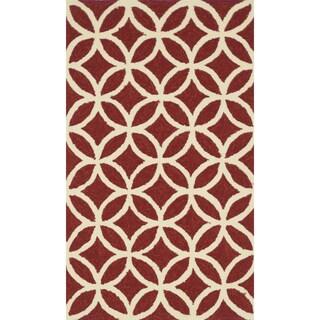 Hand-hooked Indoor/ Outdoor Capri Red Rug (2'3 x 3'9)