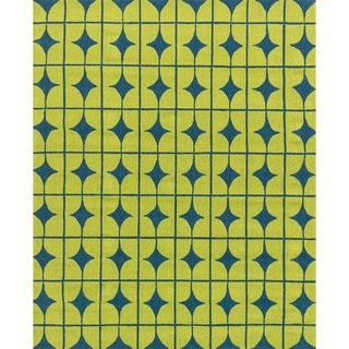 Hand-hooked Indoor/ Outdoor Capri Lime Rug (9'3 x 13')