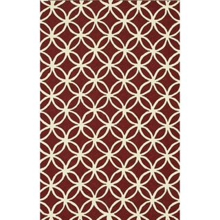 Hand-hooked Indoor/ Outdoor Capri Red Rug (3'6 x 5'6)
