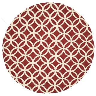 Hand-hooked Indoor/ Outdoor Capri Red Rug (7'10 x 7'10)