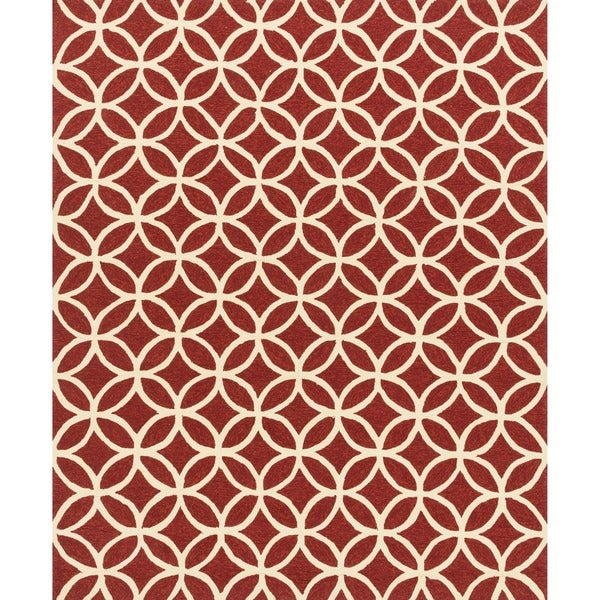 Hand-hooked Indoor/ Outdoor Capri Red Rug (7'6 x 9'6)
