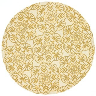 Hand-hooked Indoor/ Outdoor Capri Buttercup Rug - 7'10 x 7'10