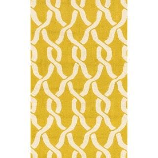 Hand-hooked Indoor/ Outdoor Capri Gold Rug (2'3 x 3'9)