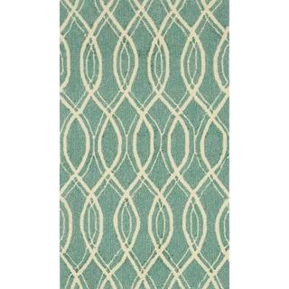 Hand-hooked Indoor/ Outdoor Capri Turquoise Rug (2'3 x 3'9)