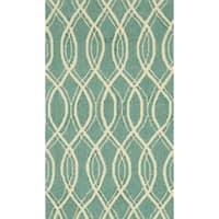 Hand-hooked Indoor/ Outdoor Capri Turquoise Rug - 2'3 x 3'9