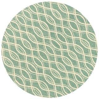 Hand-hooked Indoor/ Outdoor Capri Turquoise Rug (7'10 Round)