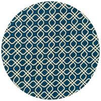 Hand-hooked Indoor/ Outdoor Capri Blue Rug - 7'10 x 7'10