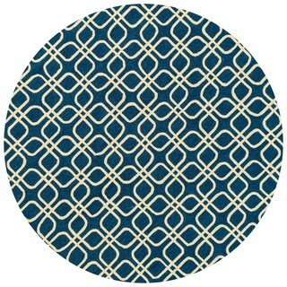 Hand-hooked Indoor/ Outdoor Capri Blue Rug - 7'10 x 7'10