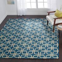 Indoor/ Outdoor Hand-hooked Blue Geometric Trellis Rug - 9'3 x 13'