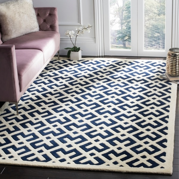 Safavieh Moroccan Blue And Black Area Rug: Shop Safavieh Handmade Moroccan Dark Blue Wool Area Rug