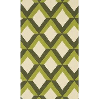 Hand-hooked Indoor/ Outdoor Capri Green Trellis Rug (2'3 x 3'9)