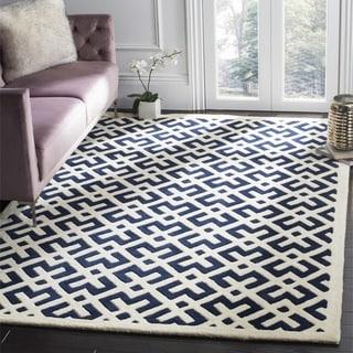 Safavieh Handmade Moroccan Chatham Dark Blue Wool Area Rug (7' Square)