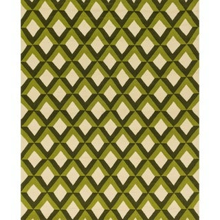 Hand-hooked Indoor/ Outdoor Capri Green Trellis Rug (9'3 x 13')