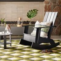 Hand-hooked Indoor/ Outdoor Capri Green Trellis Rug - 5' x 7'6