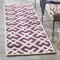 "Safavieh Handmade Moroccan Purple Indoor Wool Rug - 2'3"" x 7'"