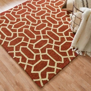 Hand-hooked Indoor/ Outdoor Capri Rust Rug (3'6 x 5'6)