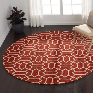 Handmade Indoor/ Outdoor Capri Rust Rug - 7'10 x 7'10