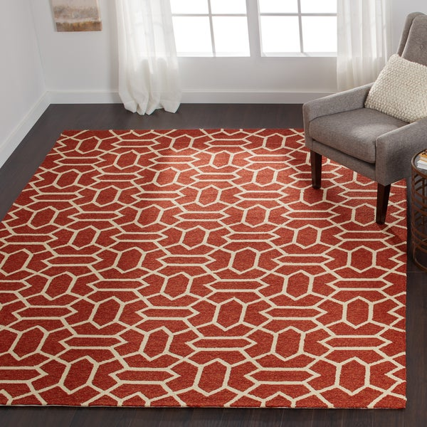 Hand-hooked Indoor/ Outdoor Capri Rust Rug - 7'6 x 9'6