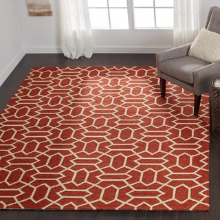 Hand-hooked Indoor/ Outdoor Capri Rust Rug (9'3 x 13')