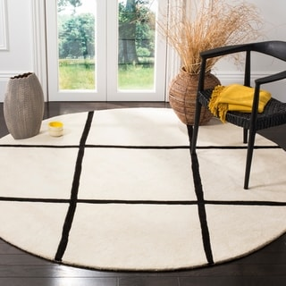 Safavieh Handmade Moroccan Ivory Wool Rug with Large Checkered Pattern(7' Round)