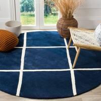 Safavieh Handmade Moroccan Dark Blue/Ivory Wool Rug - 7' x 7' Round