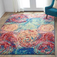 Contemporary Red/ Green Abstract Area Rug - 5'2 x 7'7