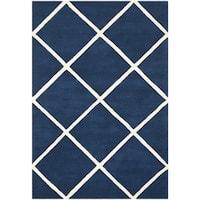 Safavieh Handmade Moroccan Chatham Squares-pattern Dark Blue Wool Rug - 6' x 9'