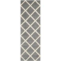 Safavieh Handmade Moroccan Chatham Dark Grey Wool Runner Rug - 2'3 x 7'