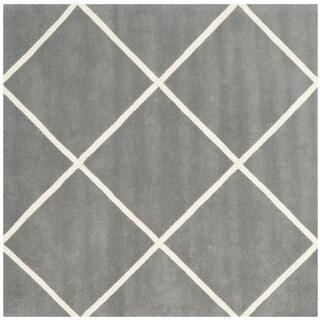 Safavieh Contemporary Handmade Moroccan Dark Grey Wool Rug (7' Square)