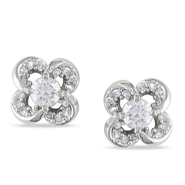 Miadora 14k White Gold 1/3ct TDW Diamond Flower Earrings
