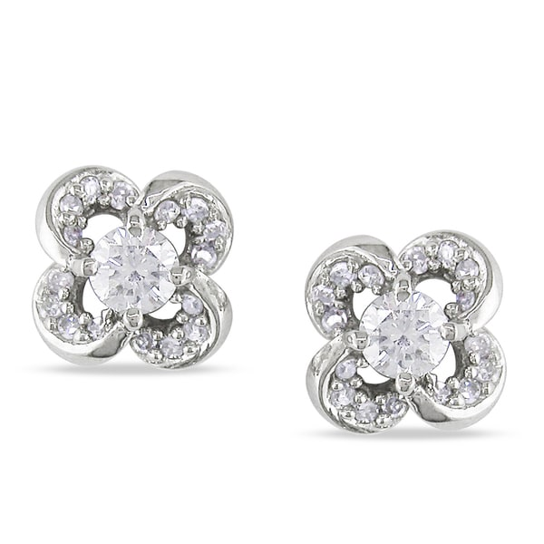 Miadora 14k White Gold 1/3ct TDW Diamond Flower Earrings (G-H, SI1-SI2)