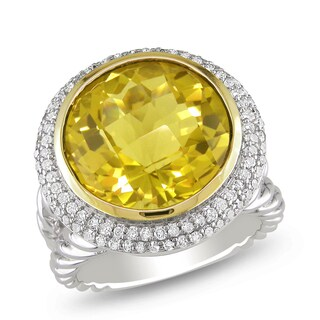 Miadora Silver/ 14k Gold Citrine and 1/2ct TDW Diamond Ring (G-H, I1-I2)