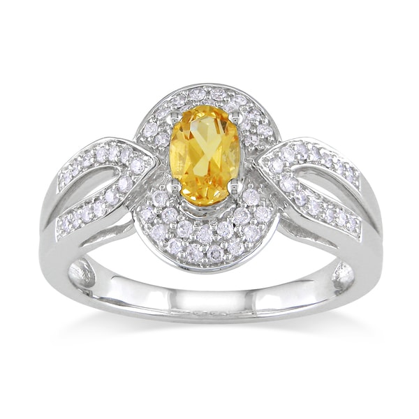 Miadora 14k White Gold Citrine and 1/4ct TDW Diamond Ring (G-H, I1-I2)
