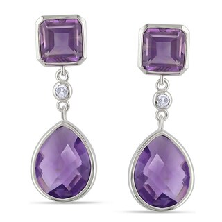 Miadora 14k Gold Amethyst and 1/10ct TDW Diamond Earrings (G-H, SI1-SI2)