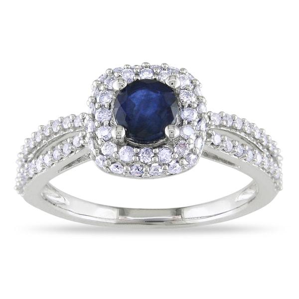 Miadora 14k White Gold Blue Sapphire and 1/2ct TDW Diamond Ring (G-H, I1-I2)